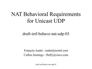 NAT Behavioral Requirements for Unicast UDP