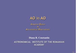 AO  in  AO A daptive O ptics in  A stronomical O bservations