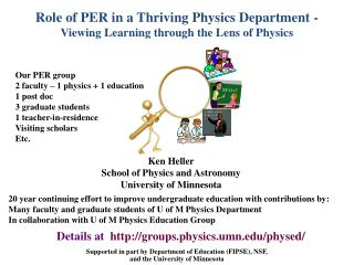 Role of PER in a Thriving Physics Department - Viewing Learning through the Lens of Physics