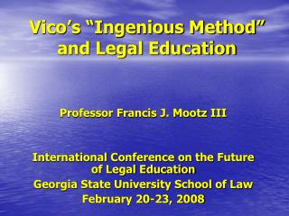 "Vico's ""Ingenious Method"" and Legal Education"