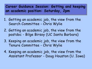 Getting an academic job, the view from the Search Committee - Chris Wylie