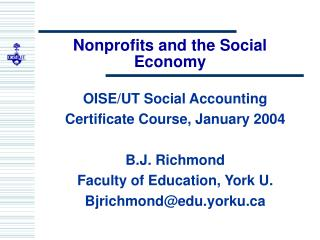 Nonprofits and the Social Economy