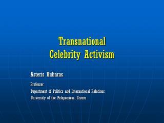 Transnational  Celebrity Activism