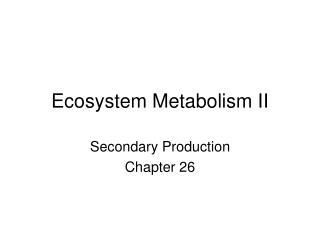 Ecosystem Metabolism II