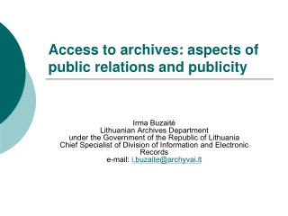 Access to archives: aspects of public relations and publicity
