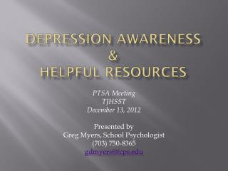 Depression awareness  & Helpful resources