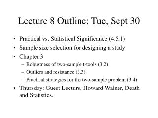 Lecture 8 Outline: Tue, Sept 30