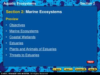 Section 2:  Marine Ecosystems
