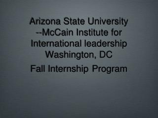 ASU—McCain Internship Program