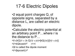 17-6 Electric Dipoles
