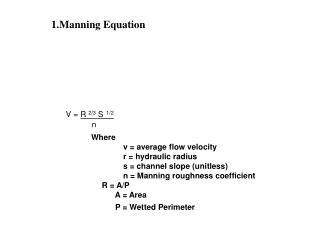 1.Manning Equation