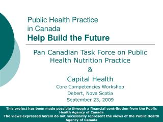 Public Health Practice  in Canada Help Build the Future