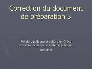 Correction du document de préparation 3