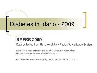 Diabetes in Idaho - 2009