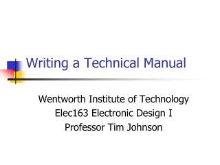 Writing a Technical Manual