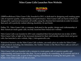 Nitro Game Calls Launches New Website