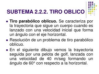 SUBTEMA 2.2.2. TIRO OBLICO
