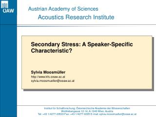 Institut für Schallforschung, Österreichische Akademie der Wissenschaften