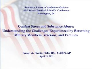 Combat Stress and Substance Abuse: