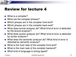 Review for lecture 4