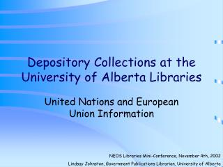 Depository Collections at the University of Alberta Libraries