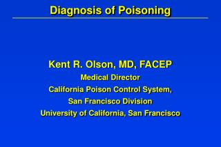 Diagnosis of Poisoning