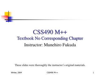 CSS490 M++ Textbook No Corresponding Chapter