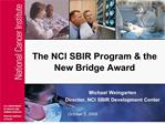 The NCI SBIR Program  the New Bridge Award