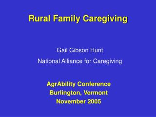 Rural Family Caregiving