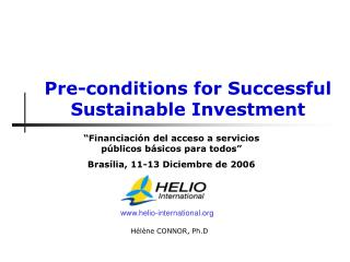 Pre-conditions for Successful Sustainable Investment