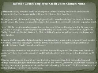 Jefferson County Employees Credit Union Changes Name