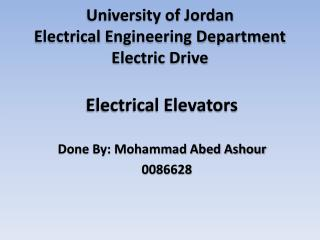 University of Jordan  Electrical  Engineering Department Electric  Drive