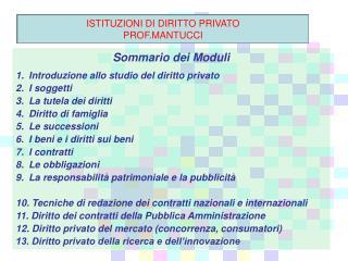 Sommario dei Moduli Introduzione allo studio del diritto privato I soggetti