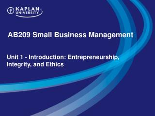 AB209 Small Business Management