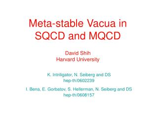 Meta-stable Vacua in SQCD and MQCD David Shih Harvard University