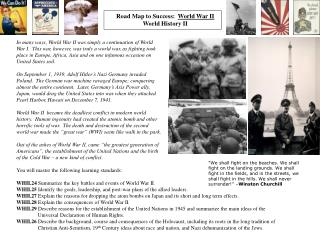 Road Map to Success:   World War II World History II