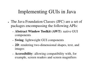 Implementing GUIs in Java