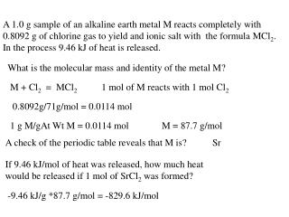 What is the molecular mass and identity of the metal M?