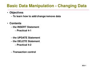 Basic Data Manipulation - Changing Data