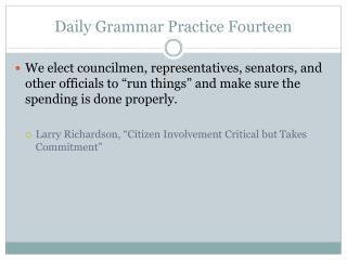 Daily Grammar Practice Fourteen