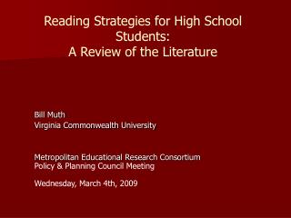 Reading Strategies for High School Students: A Review of the ...