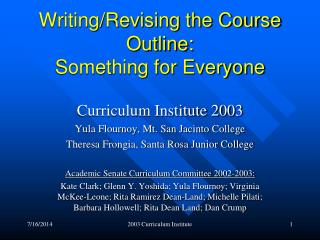 Writing/Revising the Course Outline:   Something for Everyone