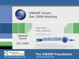 OWASP Israel  Dec 2009 Meeting