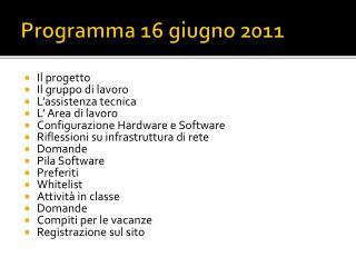Programma 16 giugno 2011