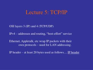 Lecture 5: TCP/IP