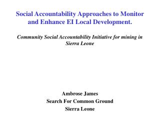 Ambrose James Search For Common Ground Sierra Leone