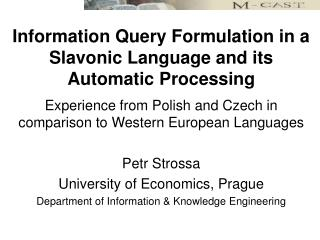 Information Query Formulation in a Slavonic Language and its Automatic Processing