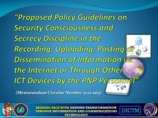 (Memorandum Circular Number 2012-003)