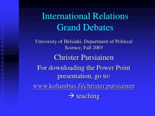 International Relations  Grand Debates