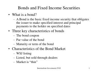 Bonds and Fixed Income Securities